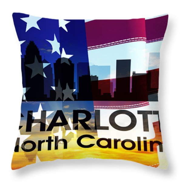 Charlotte NC Patriotic Large Cityscape Throw Pillow by Angelina Vick