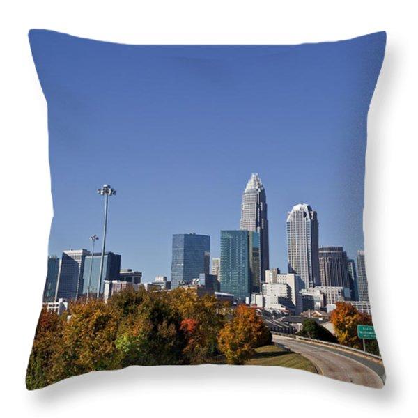 Charlotte North Carolina Throw Pillow by Jill Lang