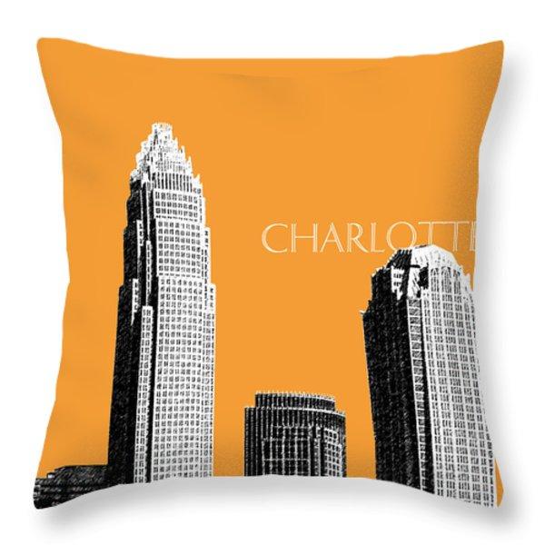 Charlotte Skyline 2 - Orange Throw Pillow by DB Artist