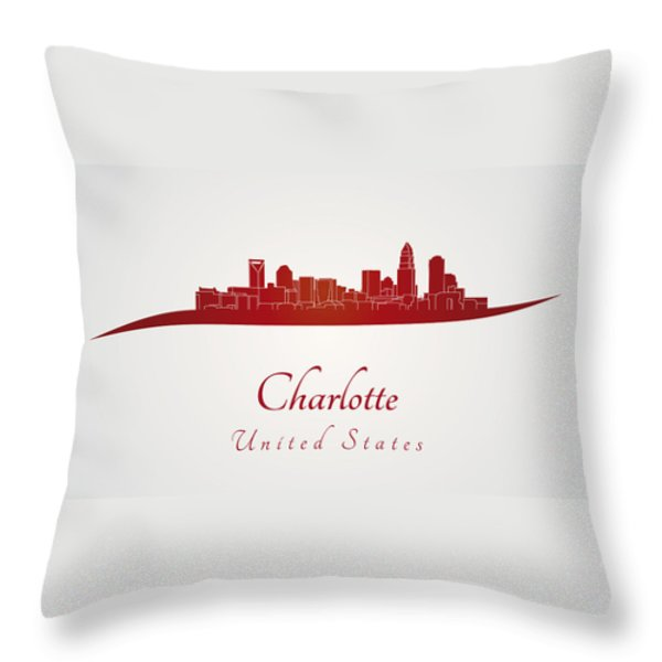 Charlotte skyline in red Throw Pillow by Pablo Romero