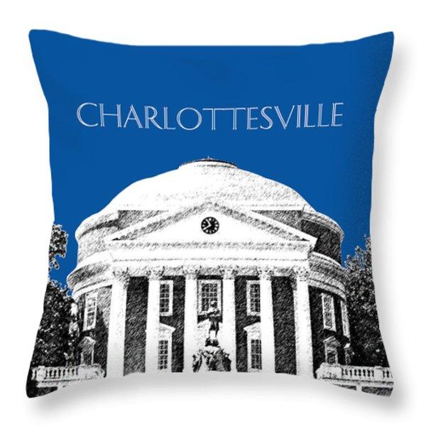 Charlottesville Va Skyline University Of Virginia - Royal Blue Throw Pillow by DB Artist