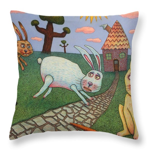 Chasing Tail Throw Pillow by James W Johnson