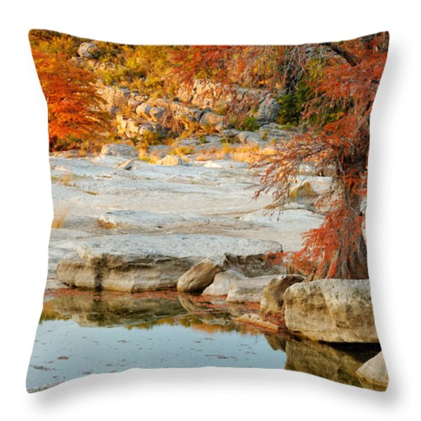 Chasing The Light At Pedernales Falls State Park Hill Country Throw Pillow by Silvio Ligutti