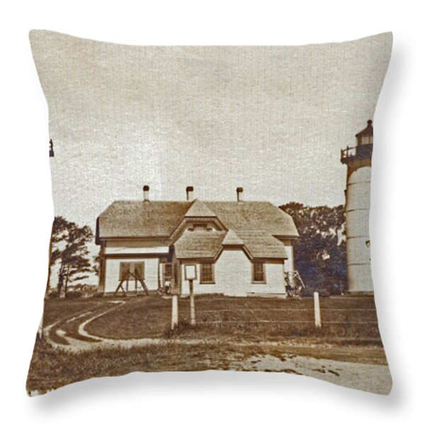 Chatham Twin Lights 1908-18 Throw Pillow by Skip Willits