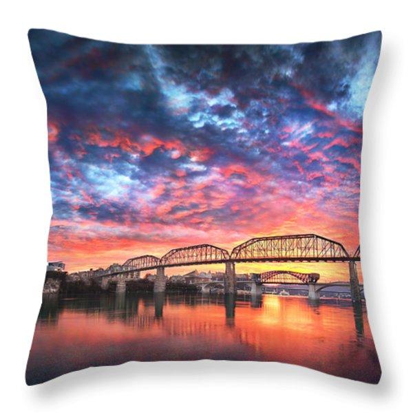 Chattanooga Sunset 4 Throw Pillow by Steven Llorca