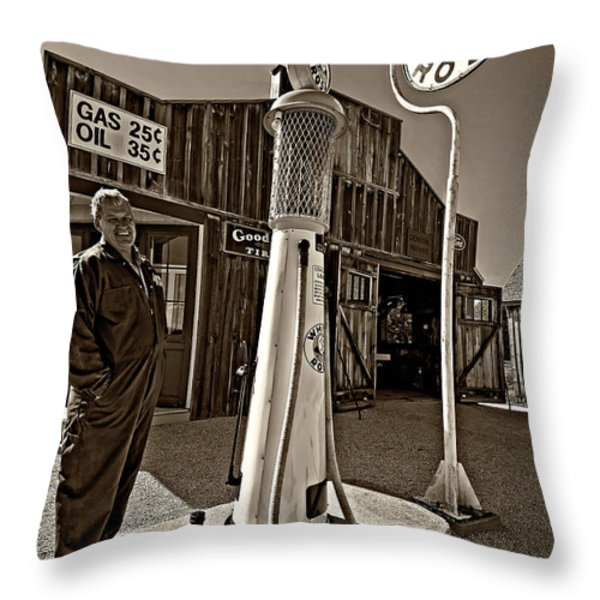 Check Your Oil Sir Monochrome Throw Pillow by Steve Harrington