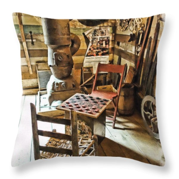 Checkers At The General Store Throw Pillow by Kenny Francis