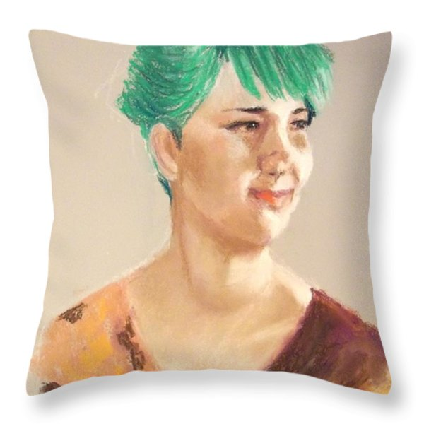 Cheerful Lady Throw Pillow by Yoshiko Mishina