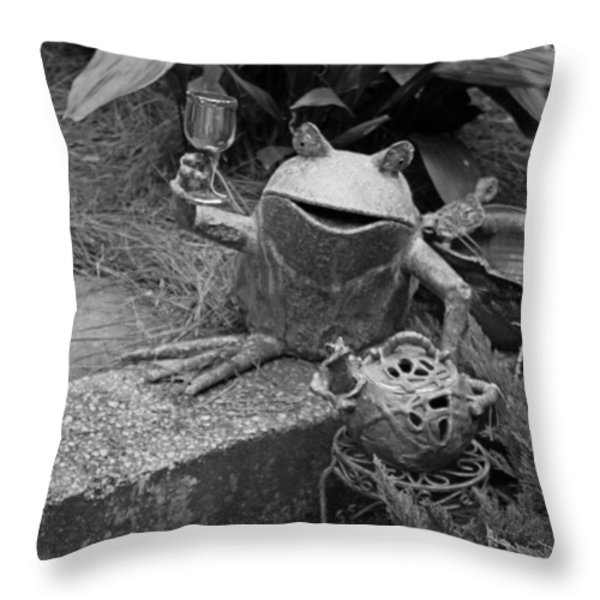 Cheers In Black And White Throw Pillow by Suzanne Gaff