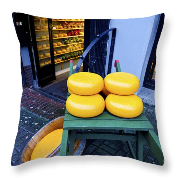 Cheese Throw Pillow by Pravine Chester