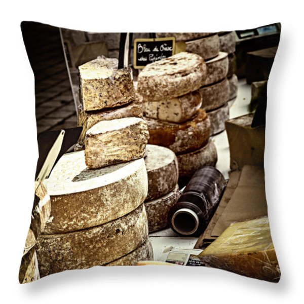 Cheeses on the market in France Throw Pillow by Elena Elisseeva