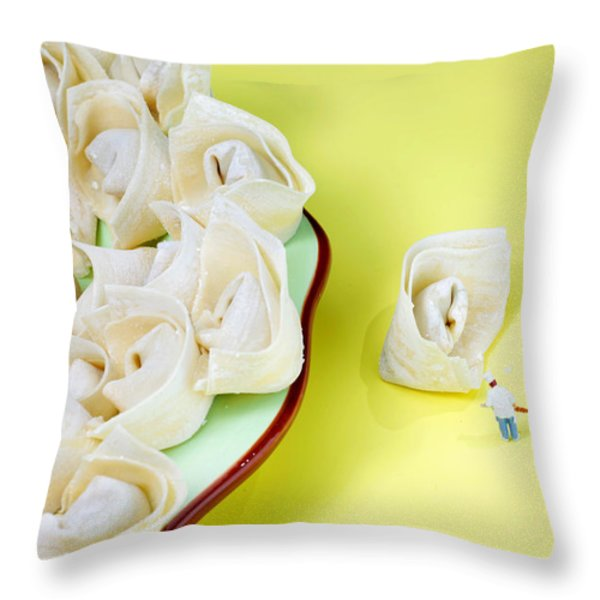Chef discussing wonton recipe Throw Pillow by Paul Ge