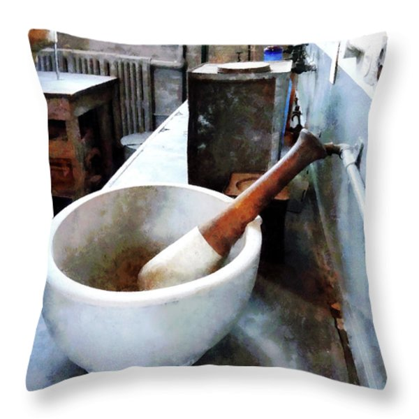 Chemist - Mortar And Pestle In Lab Throw Pillow by Susan Savad