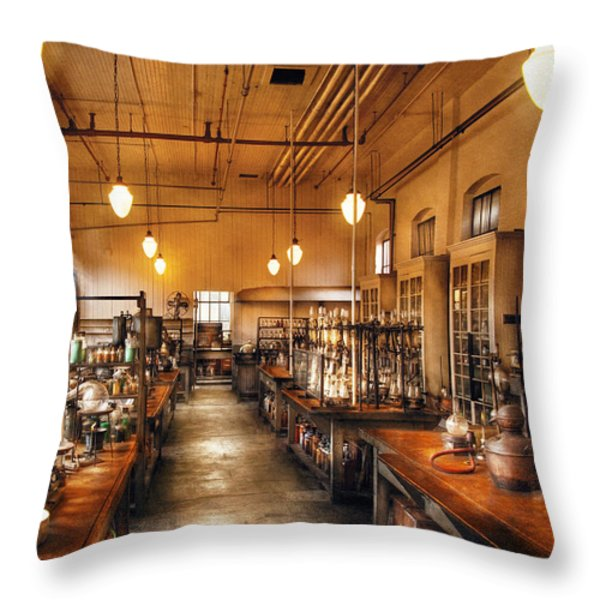 Chemist - The Chem Lab Throw Pillow by Mike Savad