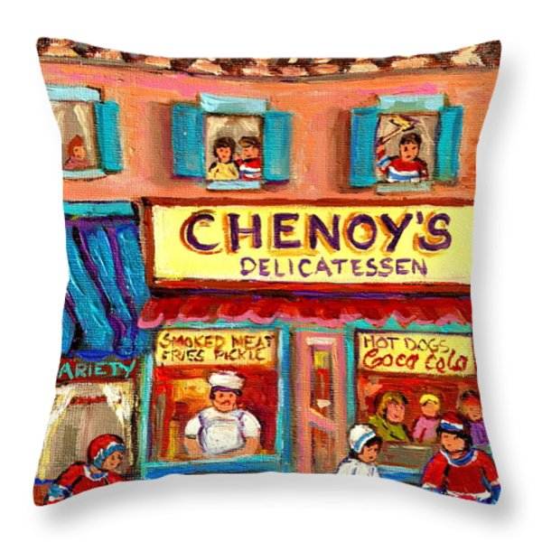 CHENOYS DELICATESSEN MONTREAL LANDMARKS PAINTING  CAROLE SPANDAU STREET SCENE SPECIALIST ARTIST Throw Pillow by CAROLE SPANDAU