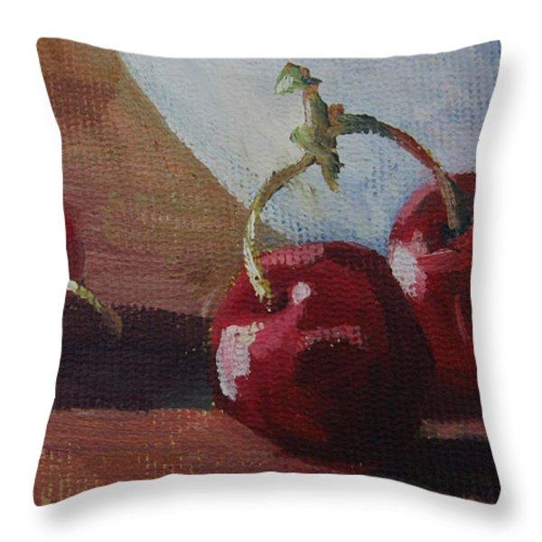 Cherries 2 Throw Pillow by John Clark