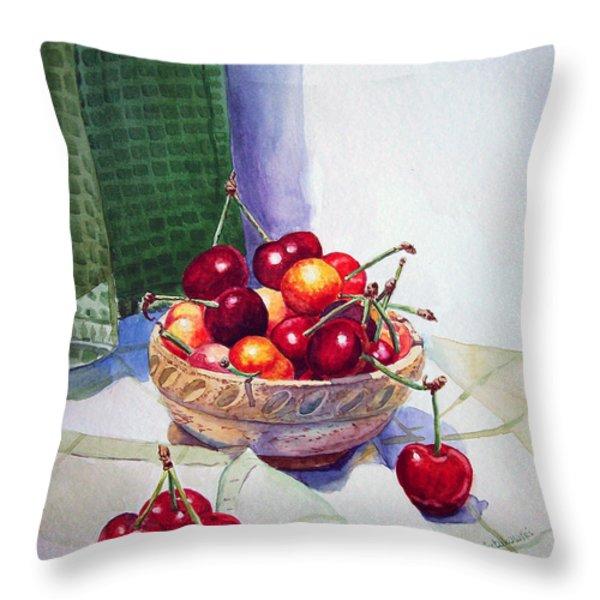 Cherries Throw Pillow by Irina Sztukowski