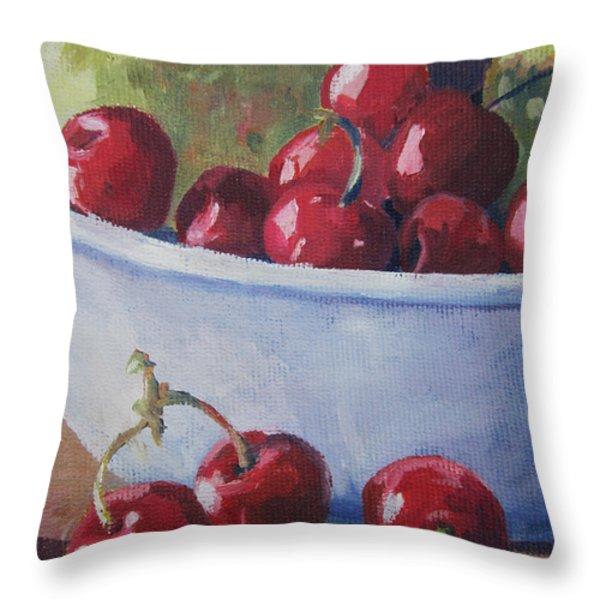 Cherries Throw Pillow by John Clark