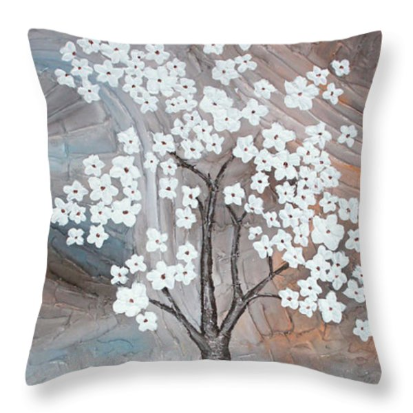 Cherry Blossom Throw Pillow by Home Art