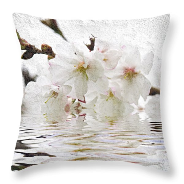 Cherry blossom in water Throw Pillow by Elena Elisseeva
