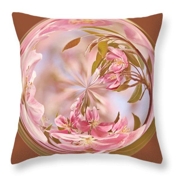 Cherry Blossom Orb Throw Pillow by Kim Hojnacki
