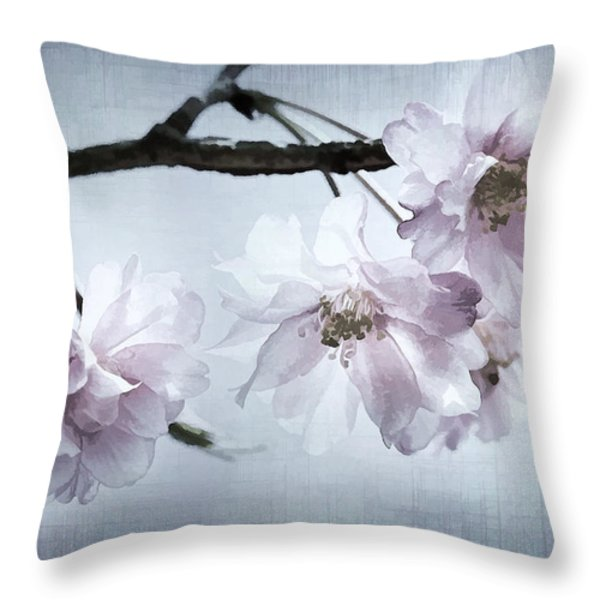 Cherry Blossom Sweetness Throw Pillow by Kathy Clark