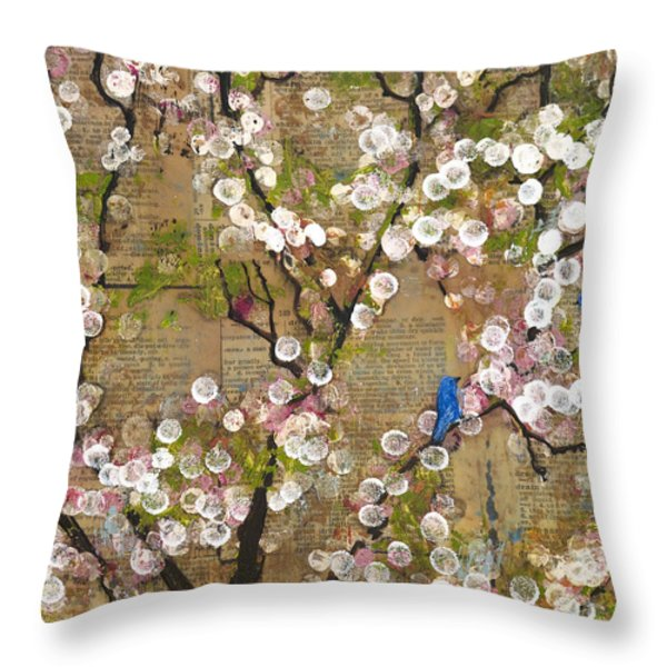 Cherry Blossoms And Blue Birds Throw Pillow by Blenda Studio