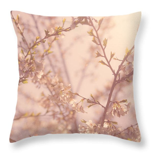 Cherry Blossoms Throw Pillow by Diane Diederich