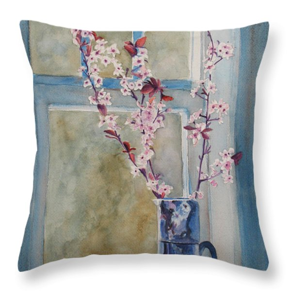 Cherry Blossoms In A Blue Pitcher Throw Pillow by Jenny Armitage