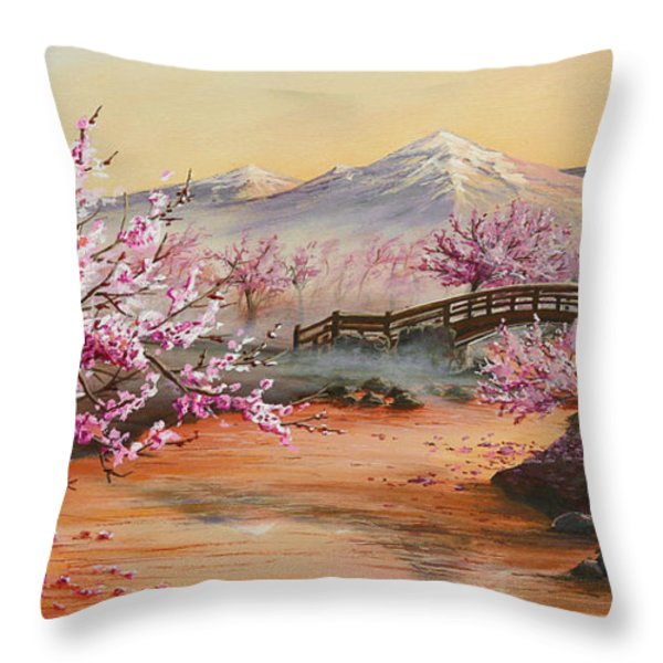 Cherry Blossoms In The Mist Throw Pillow by Joe Mandrick