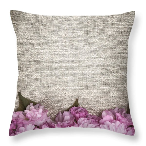 Cherry Blossoms On Linen Throw Pillow by Elena Elisseeva