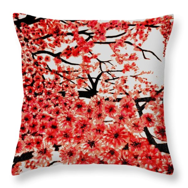 Cherry Blossoms Throw Pillow by Victoria Rhodehouse