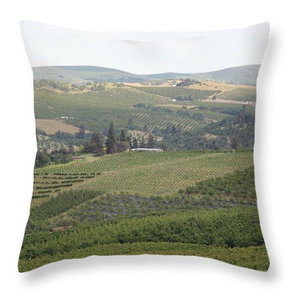 Cherry Orchards Throw Pillow by E Faithe Lester