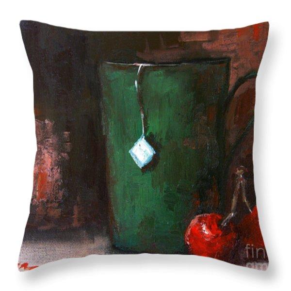 Cherry Tea in green mug Throw Pillow by Patricia Awapara