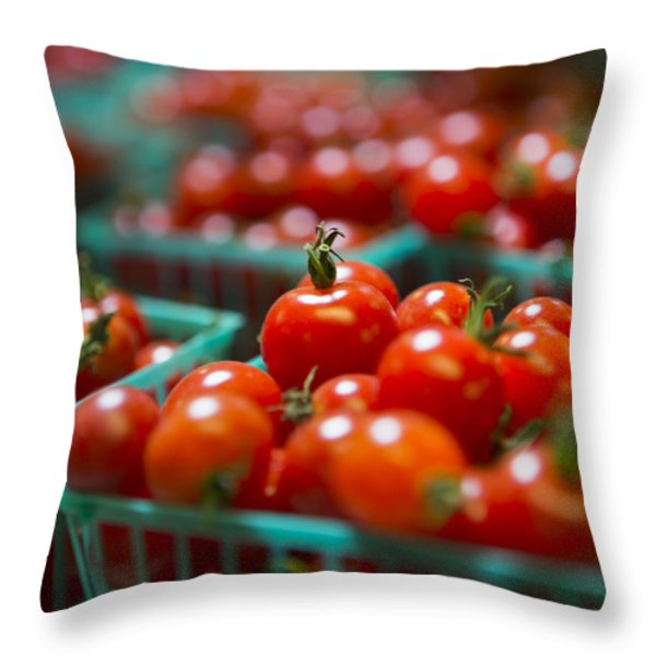 Cherry Tomatoes Throw Pillow by Caitlyn  Grasso