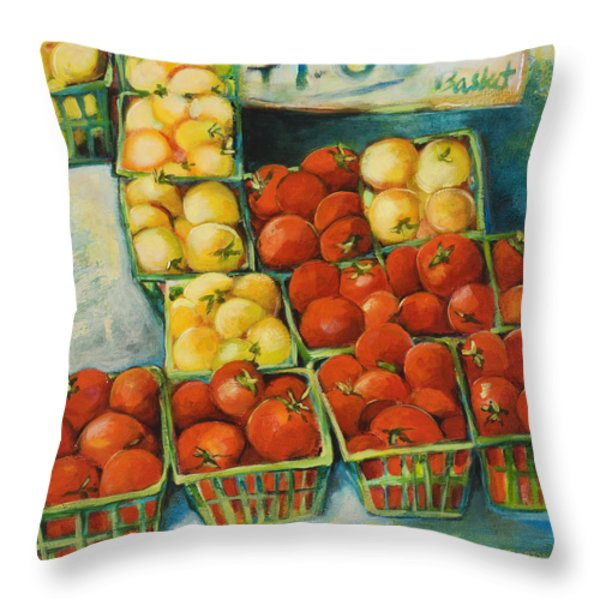Cherry Tomatoes Throw Pillow by Jen Norton