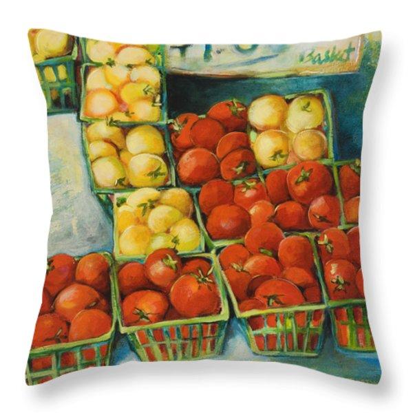 Cherry Tomatoes Throw Pillow by Jen Norton