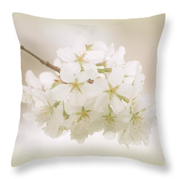 Cherry Tree Blossoms Throw Pillow by Sandy Keeton