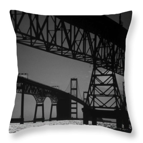 CHESAPEAKE BAY BRIDGE AT ANNAPOLIS Throw Pillow by Skip Willits