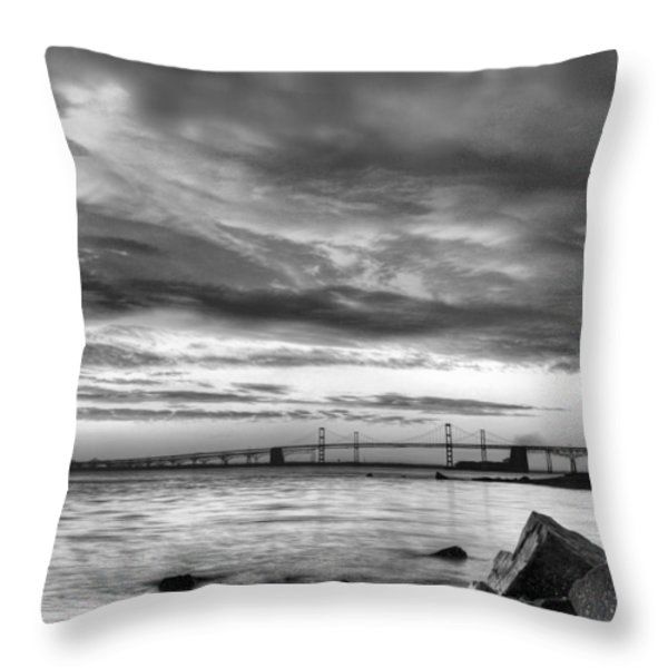 Chesapeake Mornings BW Throw Pillow by JC Findley