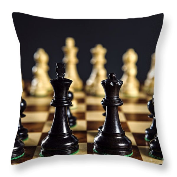 Chess Pieces On Board Throw Pillow by Elena Elisseeva