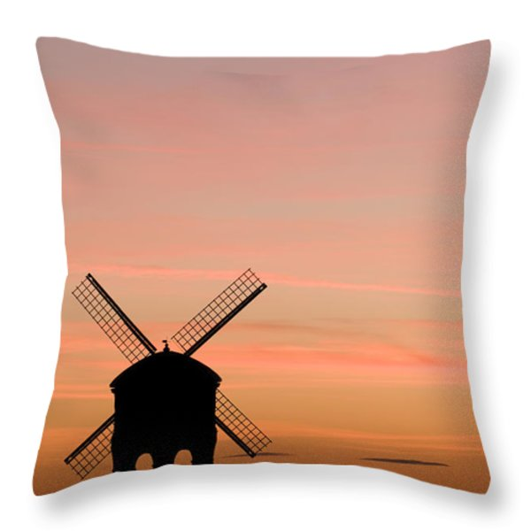 Chesterton Windmill Throw Pillow by Anne Gilbert