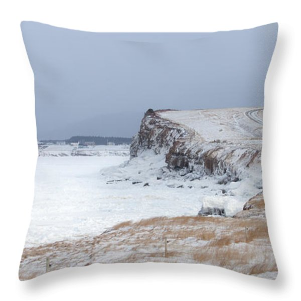 Cheticamp Harbour Entrance Throw Pillow by Michel Soucy