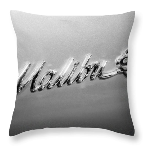 Chevrolet Malibu SS Emblem Black and White Picture Throw Pillow by Paul Velgos