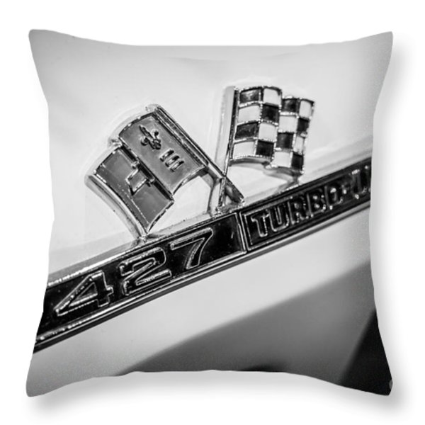 Chevy Corvette 427 Turbo-jet Emblem Throw Pillow by Paul Velgos