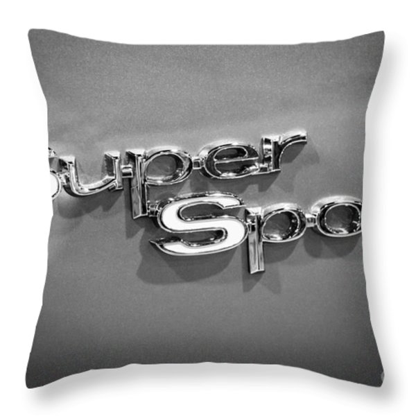 Chevy Super Sport Emblem Black And White Picture Throw Pillow by Paul Velgos