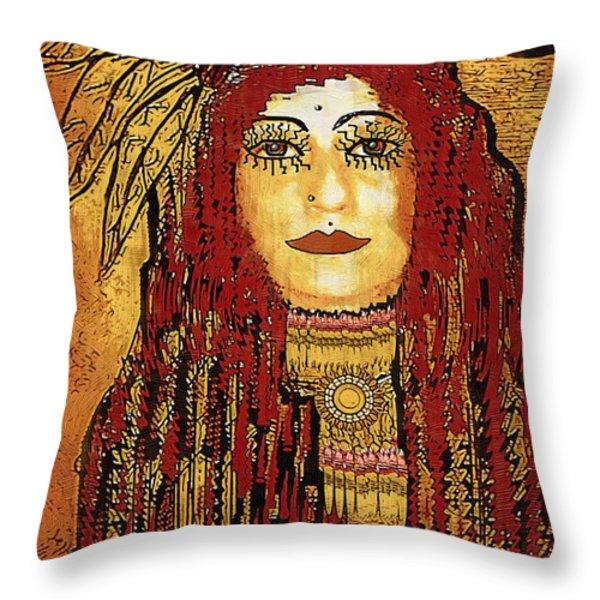 Cheyenne Woman Warrior Throw Pillow by Pepita Selles