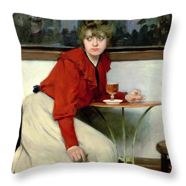 Chica In A Bar Throw Pillow by Ramon Casas i Carbo