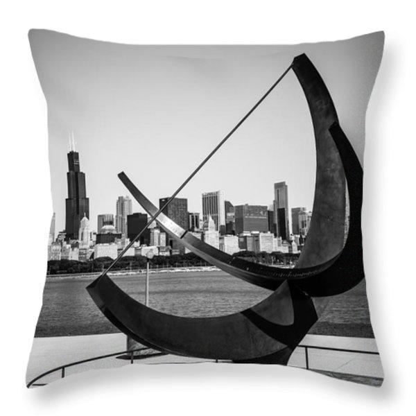 Chicago Adler Planetarium Sundial in Black and White Throw Pillow by Paul Velgos