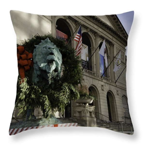 Chicago Art Institute Guardian Throw Pillow by Sebastian Musial